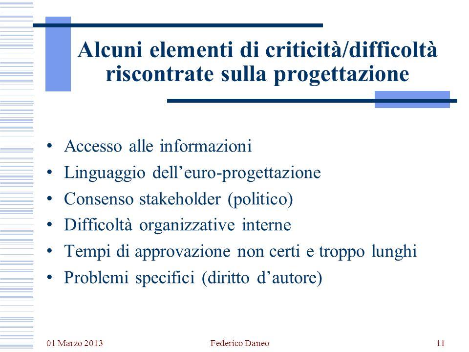 Alcuni elementi di criticità/difficoltà riscontrate sulla progettazione