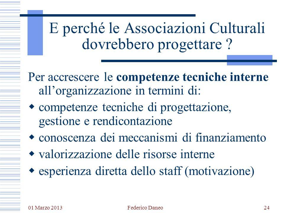 E perché le Associazioni Culturali dovrebbero progettare