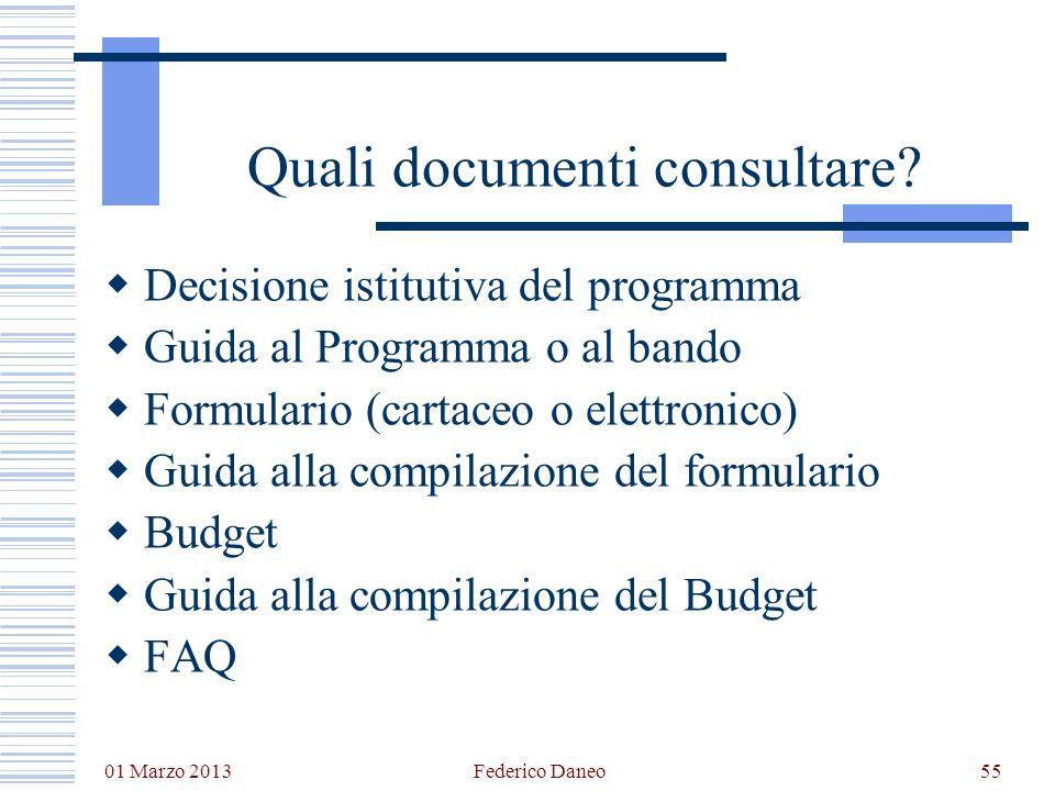 Quali documenti consultare