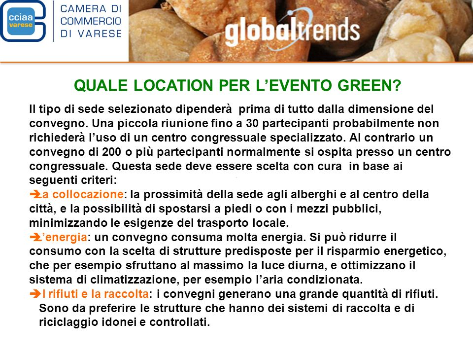 QUALE LOCATION PER L'EVENTO GREEN