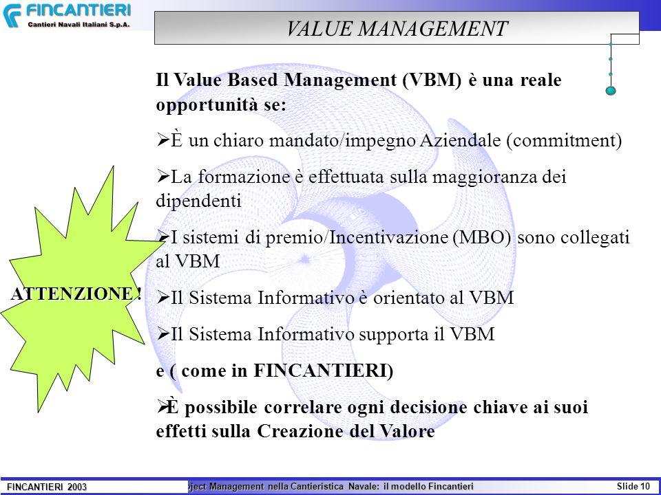 VALUE MANAGEMENT Il Value Based Management (VBM) è una reale opportunità se: È un chiaro mandato/impegno Aziendale (commitment)