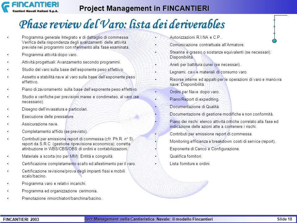 Phase review del Varo: lista dei deriverables