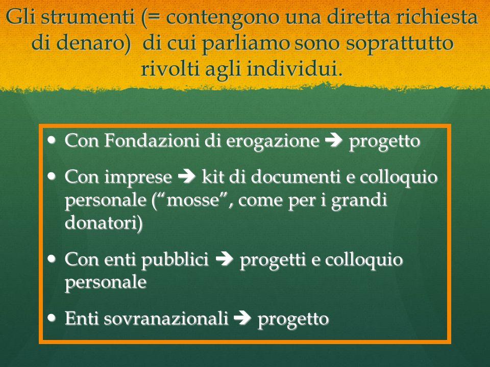 Gli strumenti (= contengono una diretta richiesta di denaro) di cui parliamo sono soprattutto rivolti agli individui.