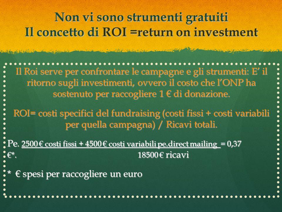 Non vi sono strumenti gratuiti Il concetto di ROI =return on investment