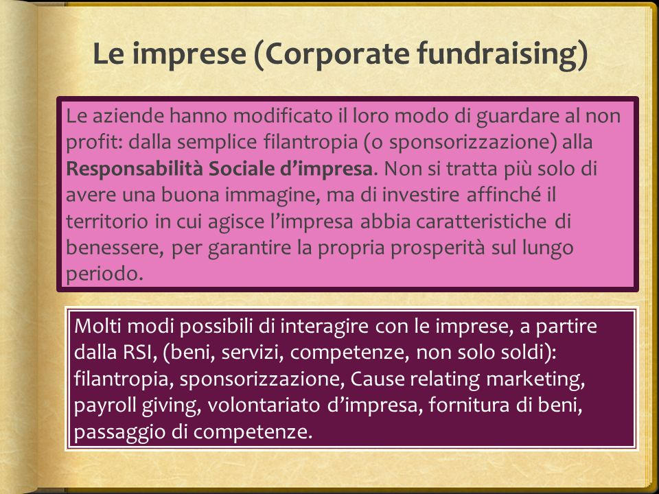 Le imprese (Corporate fundraising)