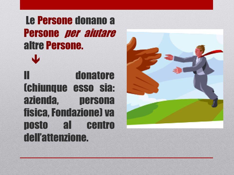 Le Persone donano a Persone per aiutare altre Persone