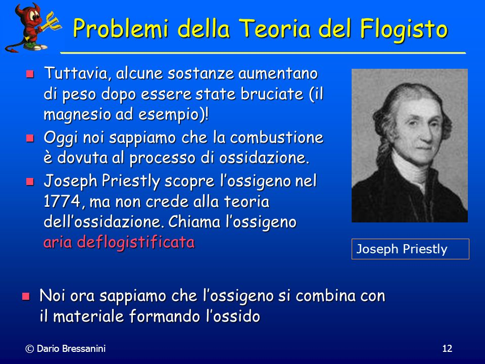 Problemi della Teoria del Flogisto