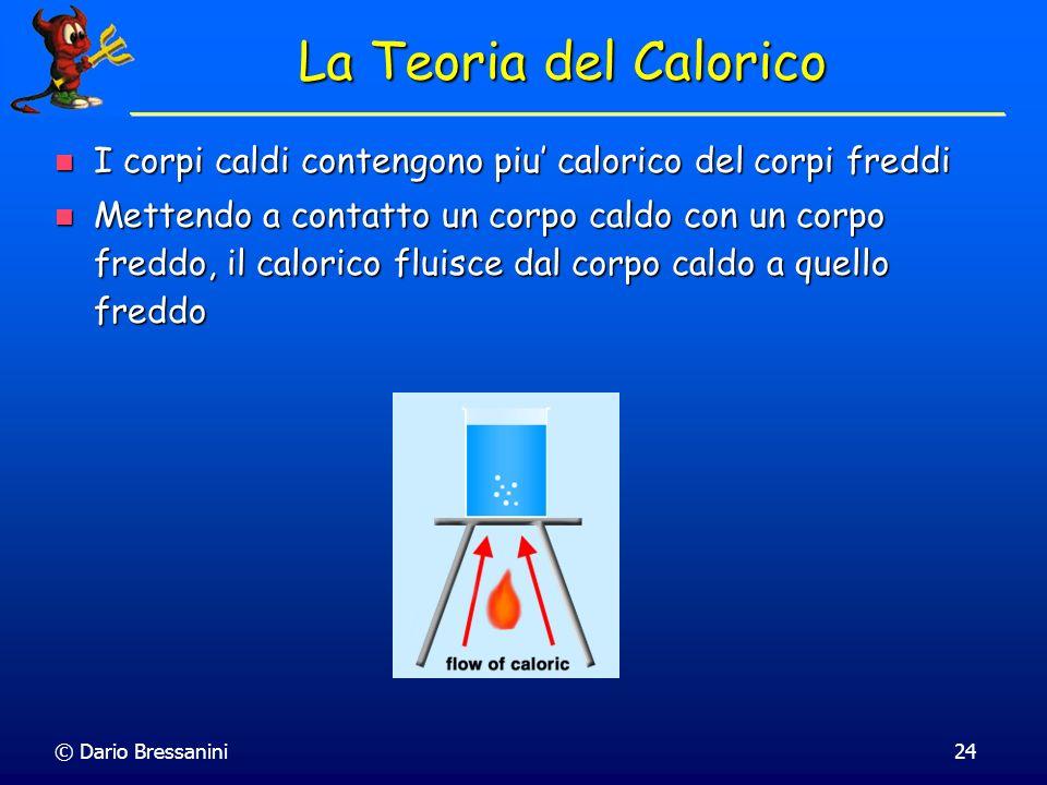 La Teoria del Calorico I corpi caldi contengono piu' calorico del corpi freddi.