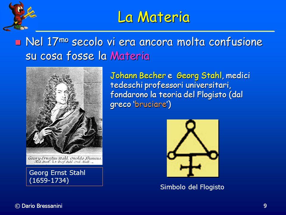 La MateriaNel 17mo secolo vi era ancora molta confusione su cosa fosse la Materia.