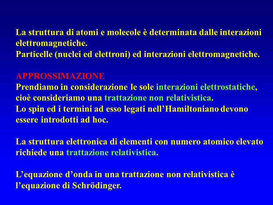 La struttura di atomi e molecole è determinata dalle interazioni elettromagnetiche.