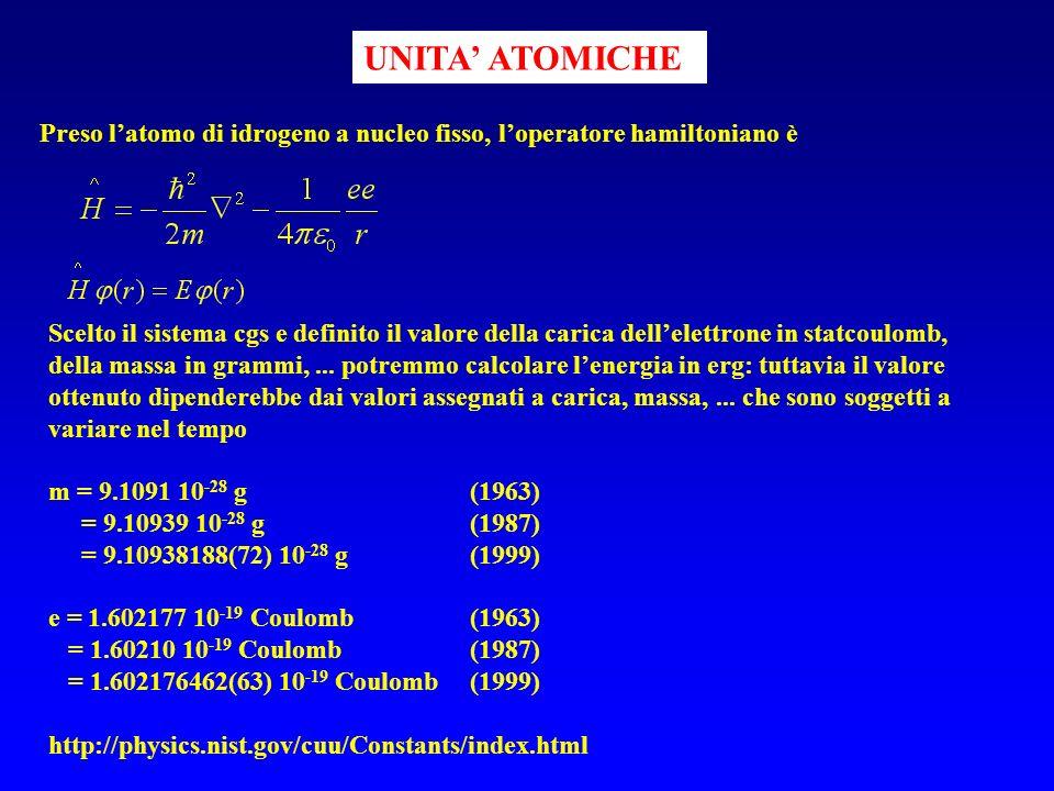 UNITA' ATOMICHE Preso l'atomo di idrogeno a nucleo fisso, l'operatore hamiltoniano è.