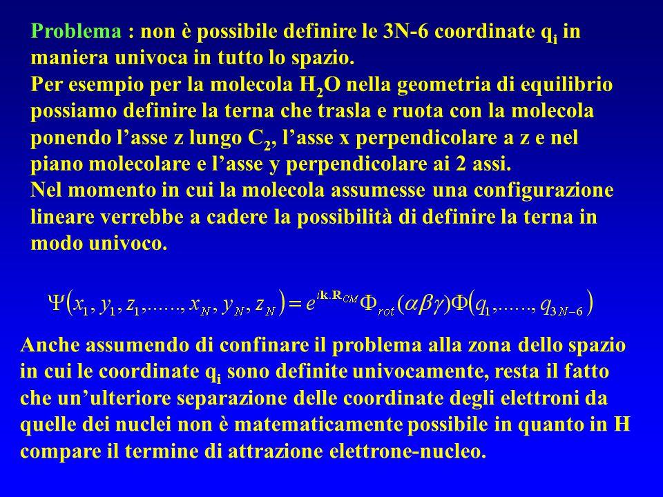 Problema : non è possibile definire le 3N-6 coordinate qi in maniera univoca in tutto lo spazio.