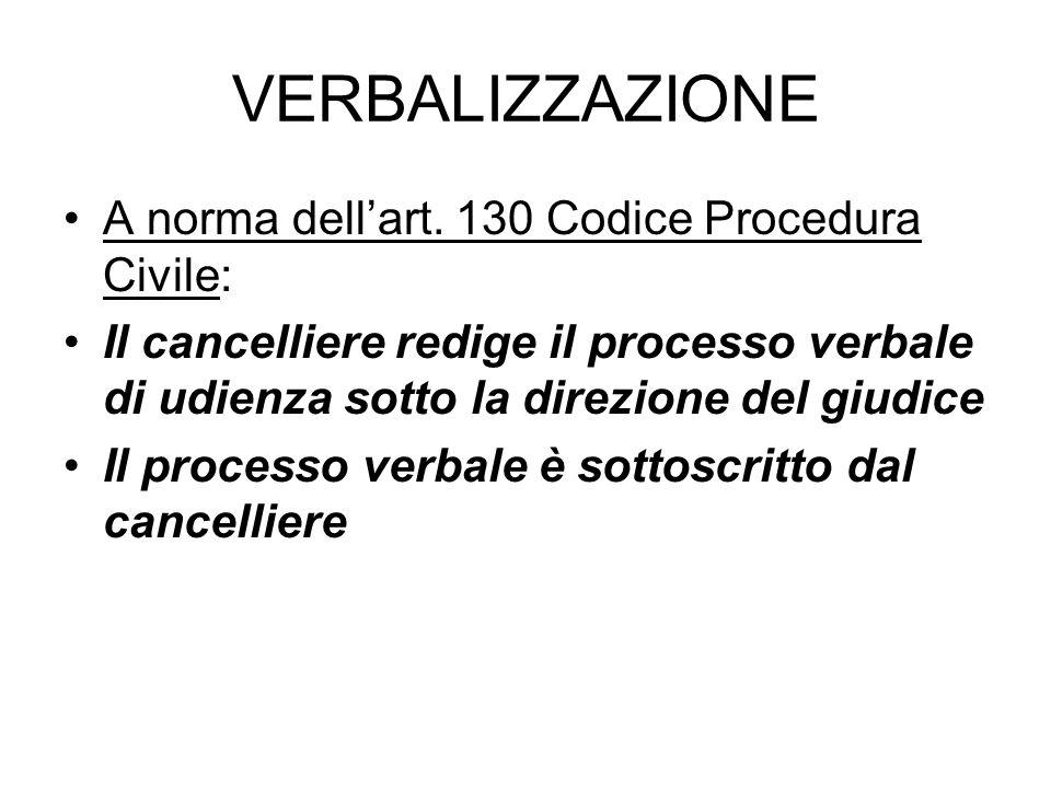 VERBALIZZAZIONE A norma dell'art. 130 Codice Procedura Civile: