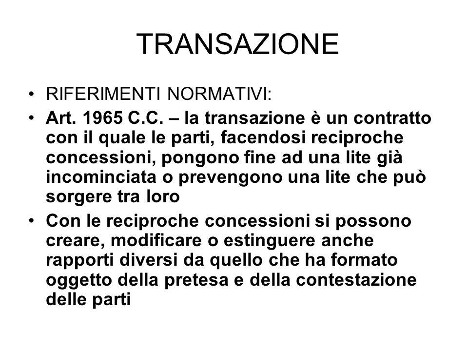 TRANSAZIONE RIFERIMENTI NORMATIVI: