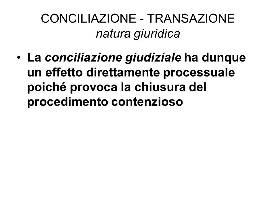 CONCILIAZIONE - TRANSAZIONE natura giuridica