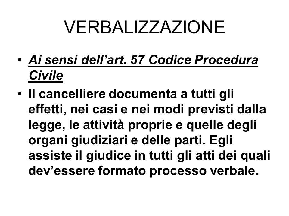VERBALIZZAZIONE Ai sensi dell'art. 57 Codice Procedura Civile