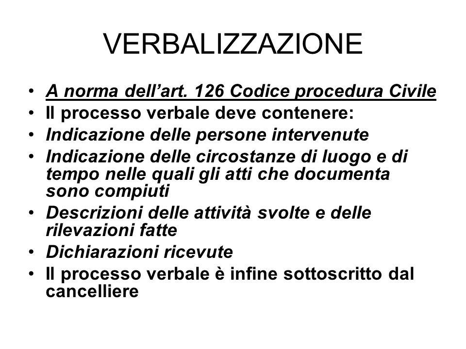 VERBALIZZAZIONE A norma dell'art. 126 Codice procedura Civile