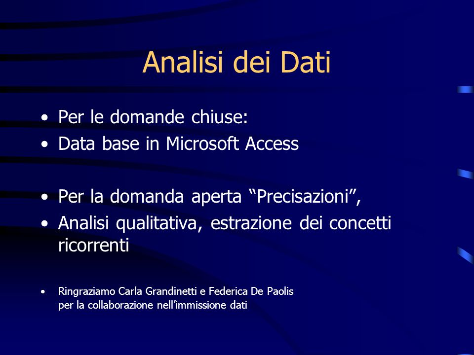 Analisi dei Dati Per le domande chiuse: Data base in Microsoft Access