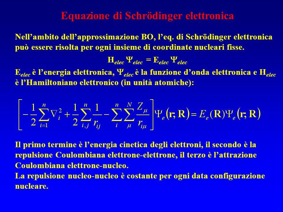 Equazione di Schrödinger elettronica Helec elec = Eelec elec