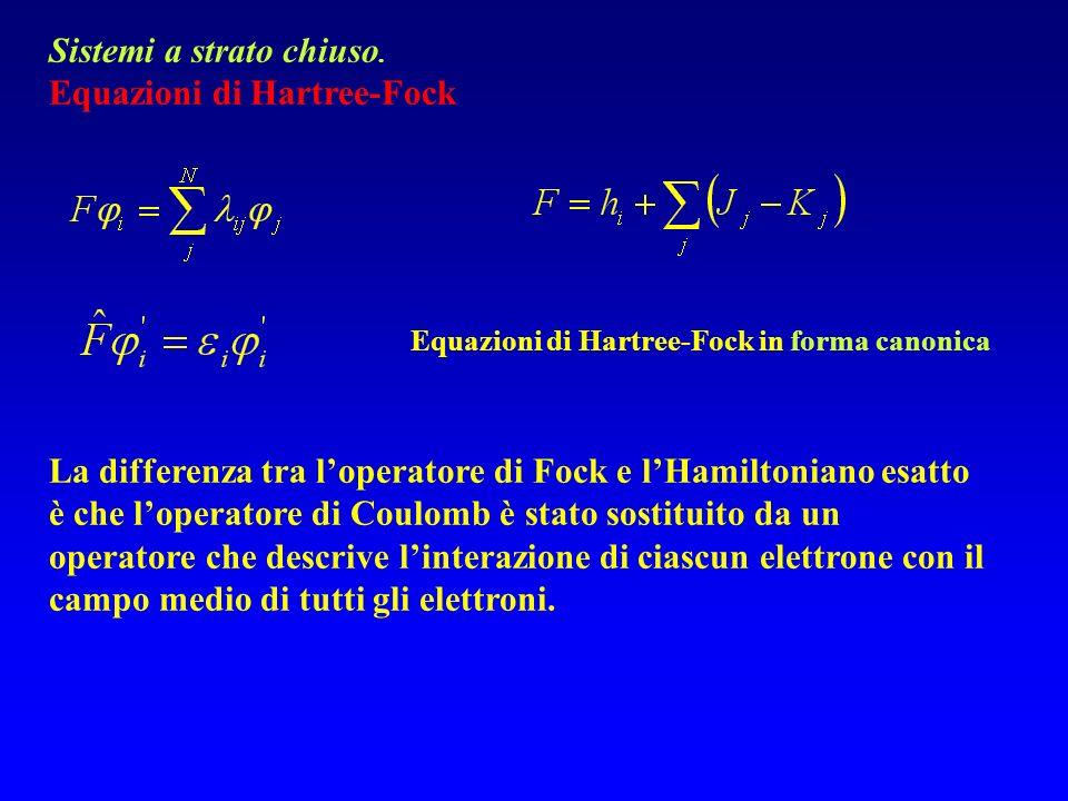 Sistemi a strato chiuso. Equazioni di Hartree-Fock