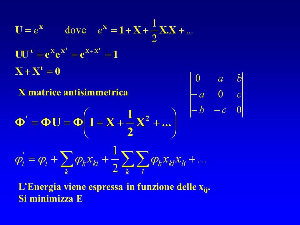 X matrice antisimmetrica