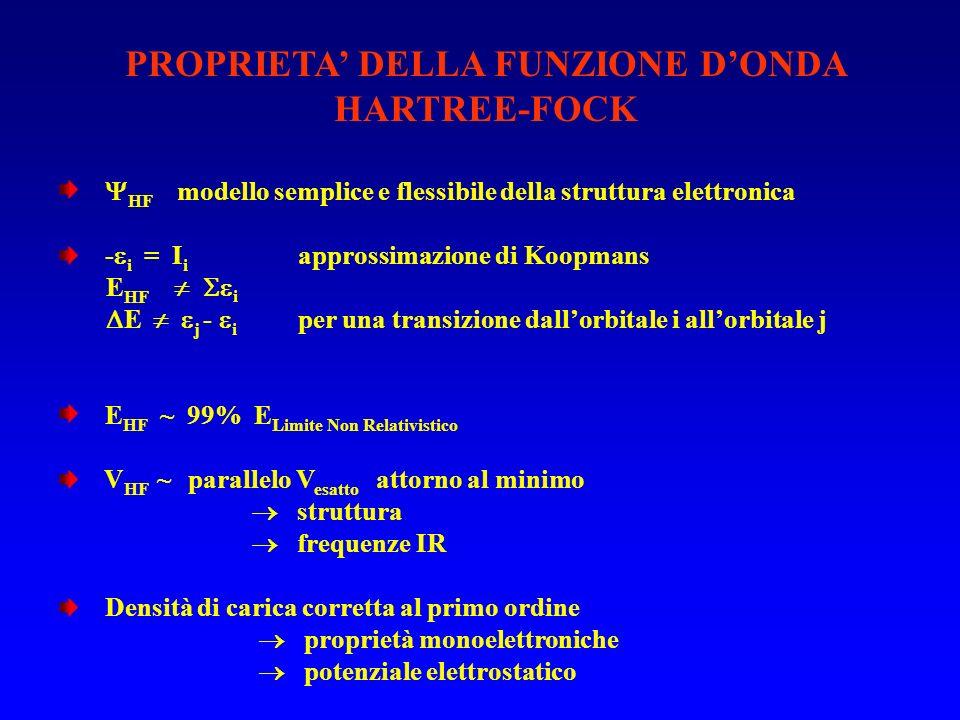 PROPRIETA' DELLA FUNZIONE D'ONDA HARTREE-FOCK