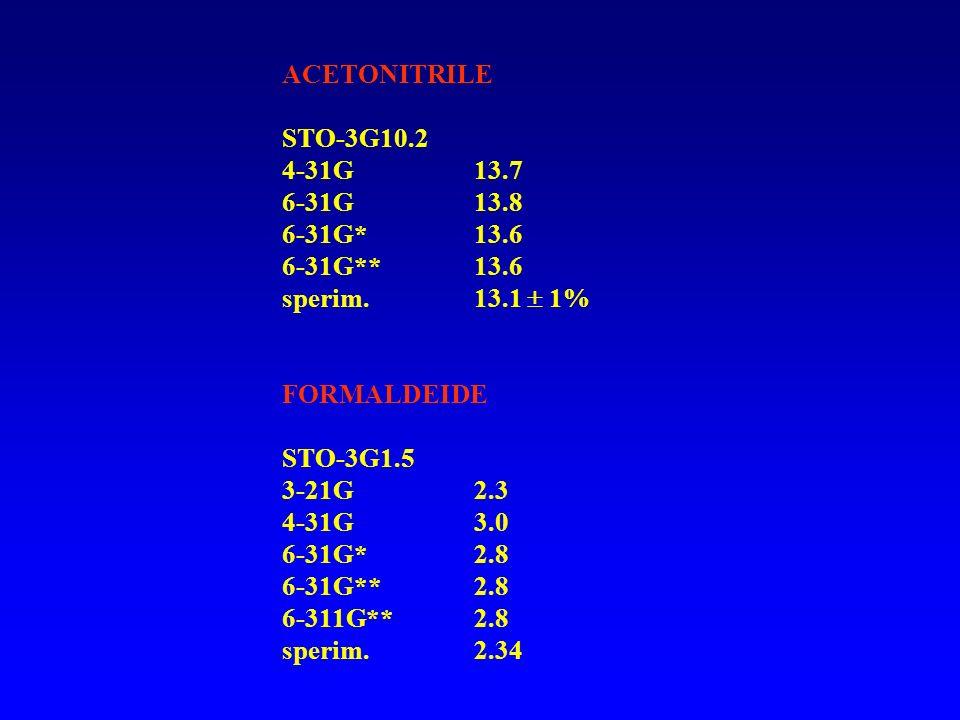 ACETONITRILE STO-3G 10.2. 4-31G 13.7. 6-31G 13.8. 6-31G* 13.6. 6-31G** 13.6. sperim. 13.1  1%