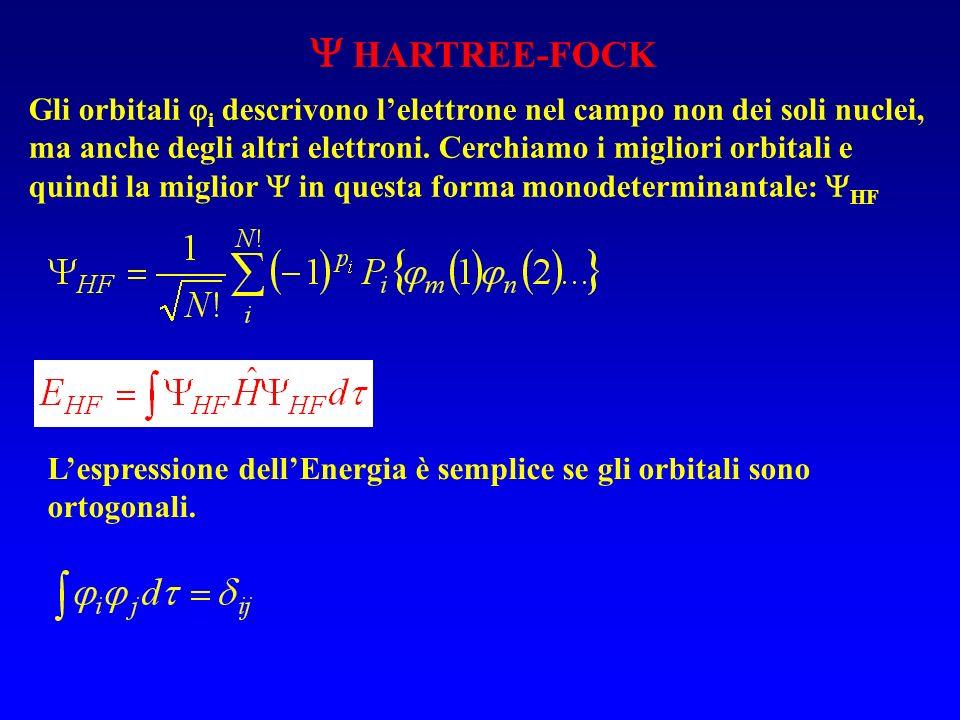 L'espressione dell'Energia è semplice se gli orbitali sono ortogonali.