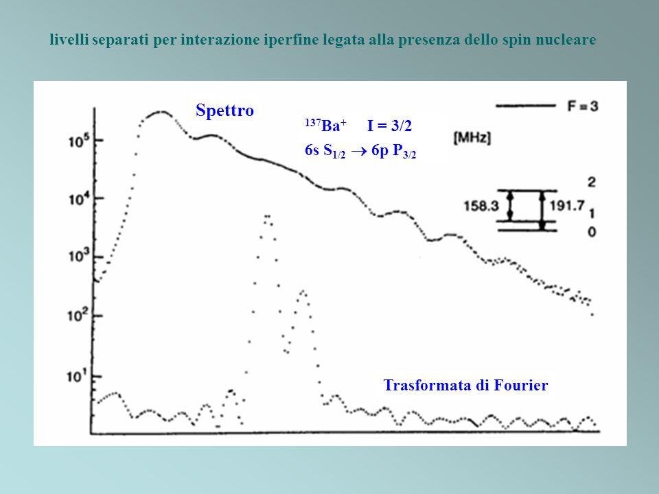 livelli separati per interazione iperfine legata alla presenza dello spin nucleare