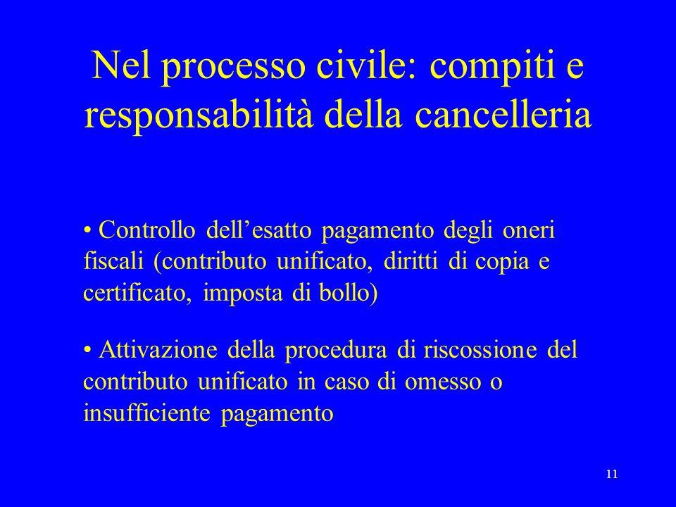 Nel processo civile: compiti e responsabilità della cancelleria