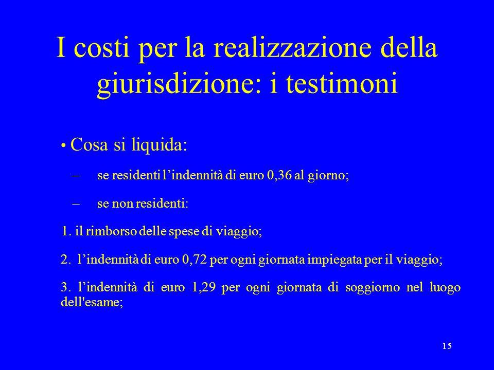 I costi per la realizzazione della giurisdizione: i testimoni