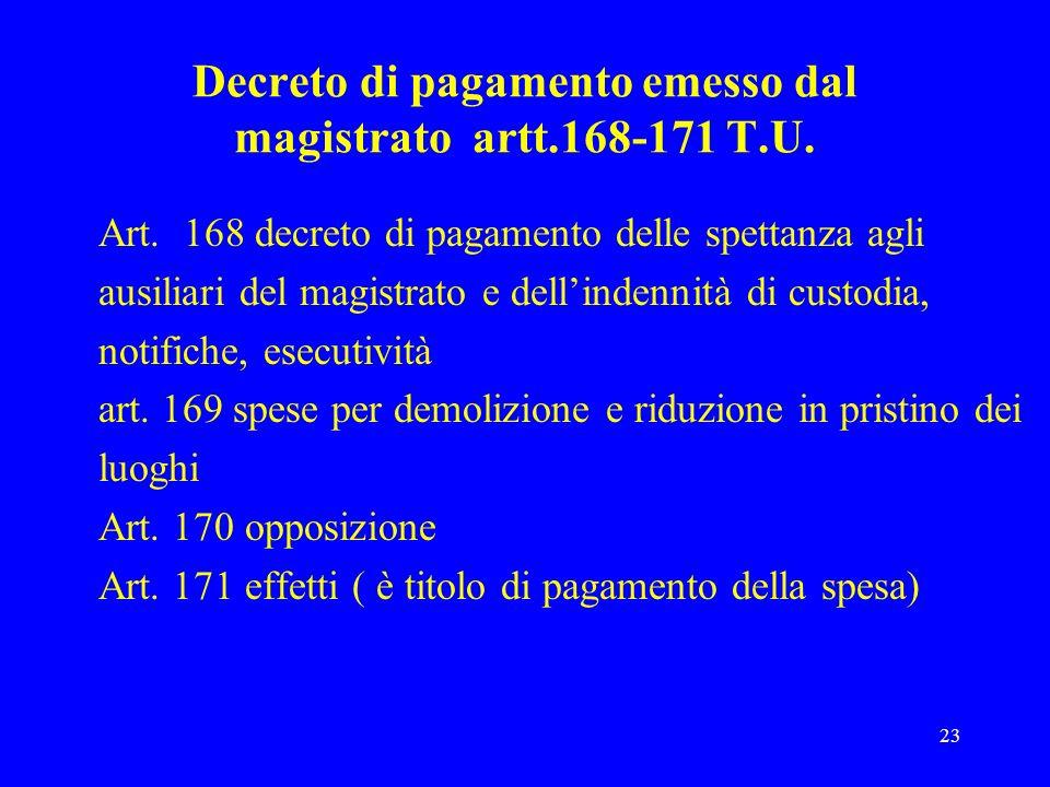 Decreto di pagamento emesso dal magistrato artt.168-171 T.U.