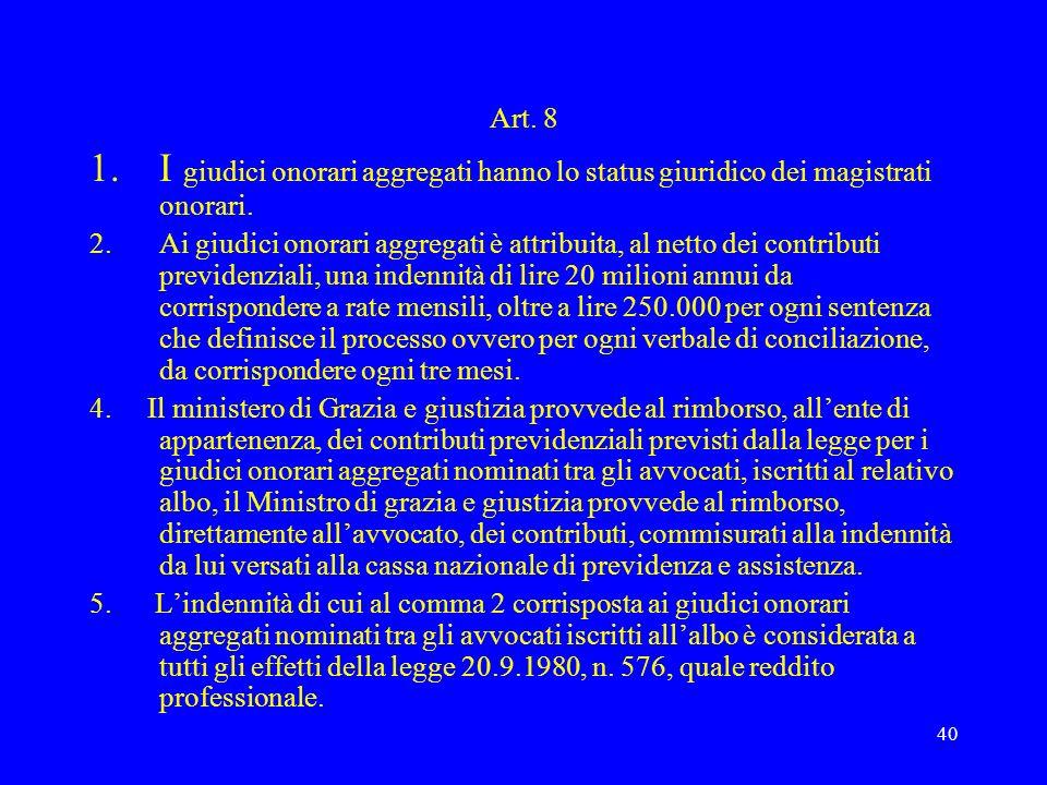 Art. 8I giudici onorari aggregati hanno lo status giuridico dei magistrati onorari.