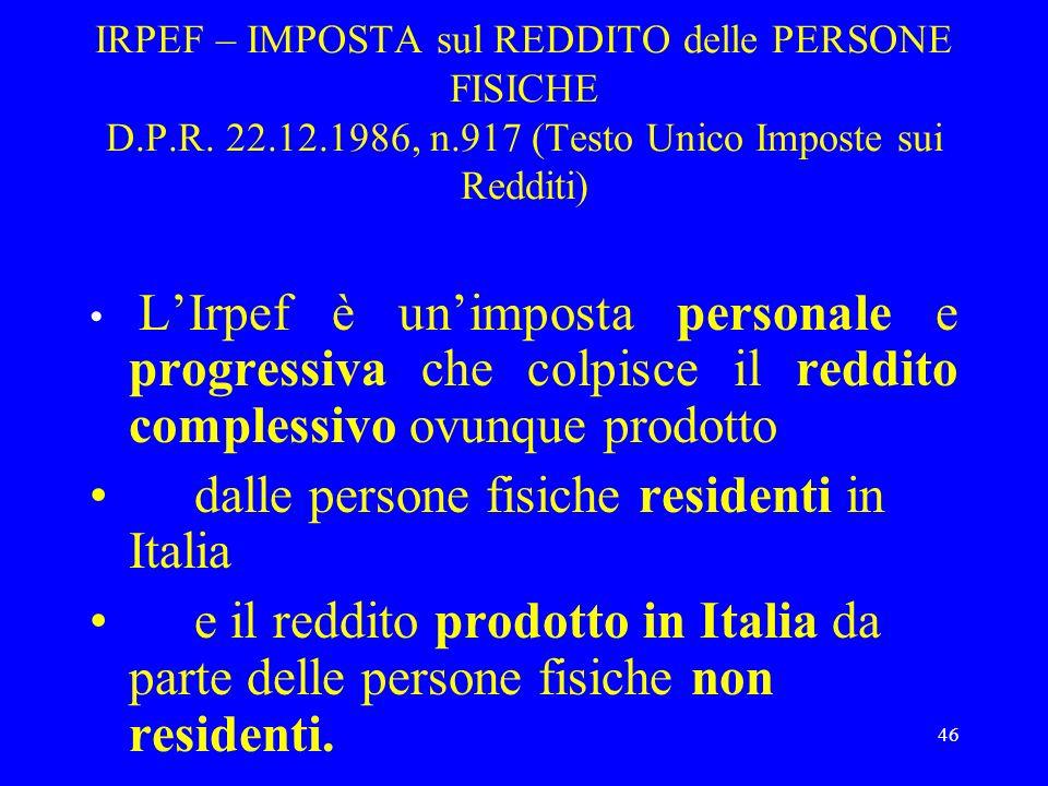 dalle persone fisiche residenti in Italia