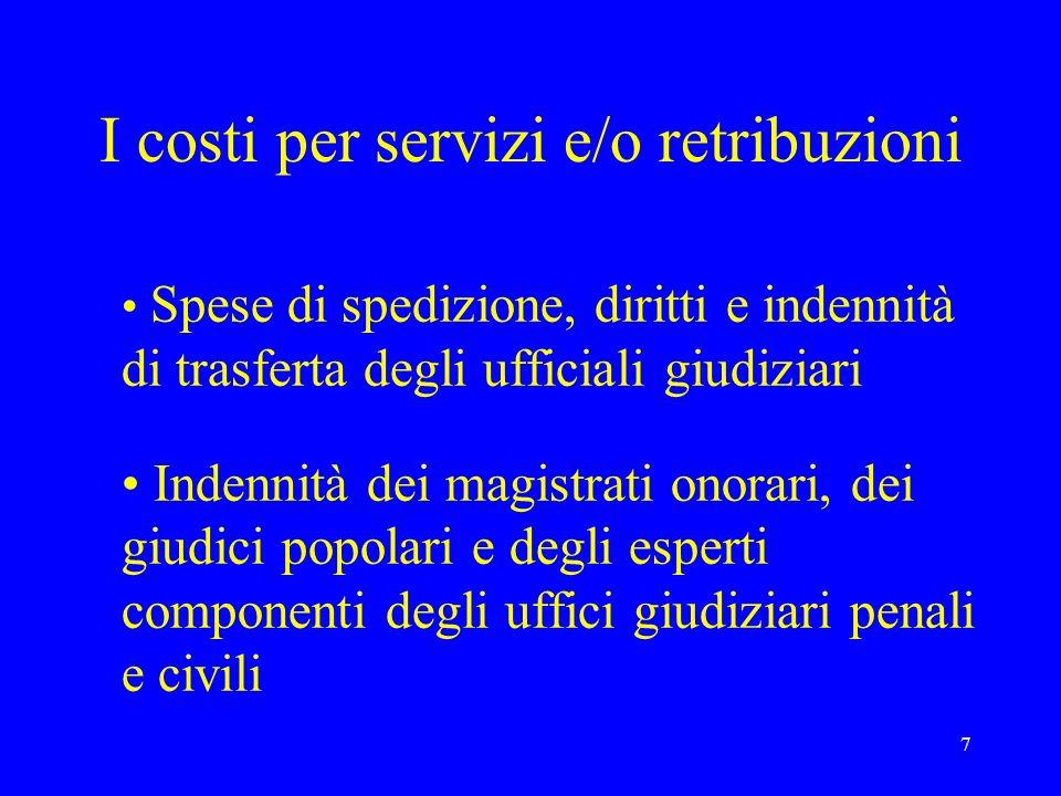 I costi per servizi e/o retribuzioni