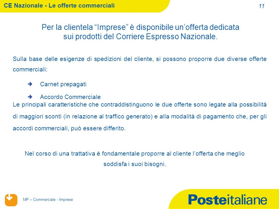CE Nazionale - Le offerte commerciali