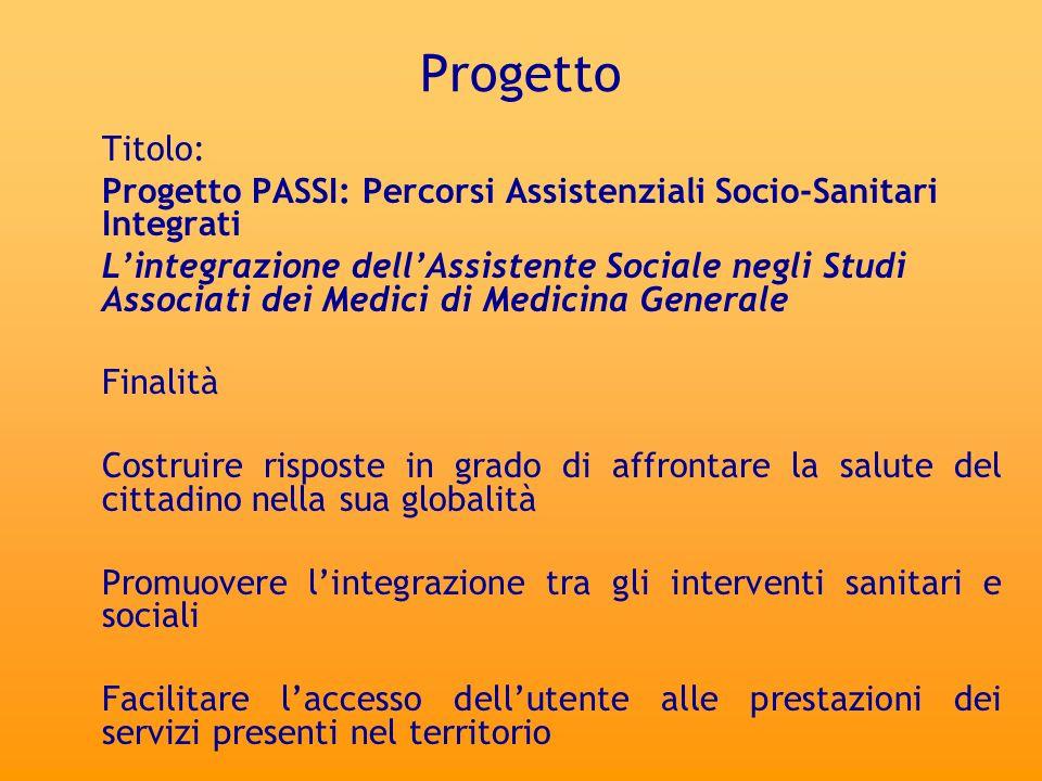 ProgettoTitolo: Progetto PASSI: Percorsi Assistenziali Socio-Sanitari Integrati.