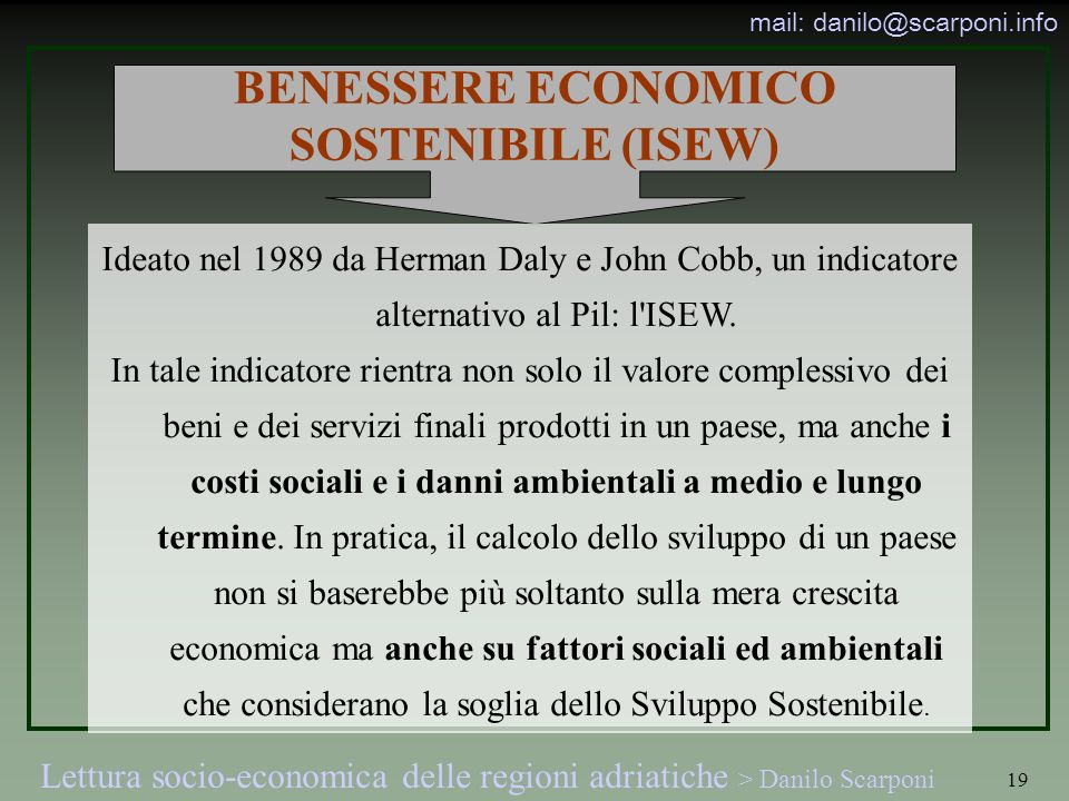 BENESSERE ECONOMICO SOSTENIBILE (ISEW)