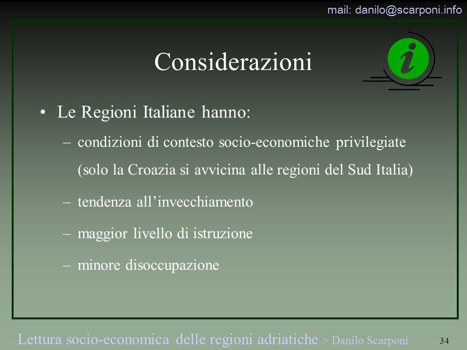 Considerazioni Le Regioni Italiane hanno: