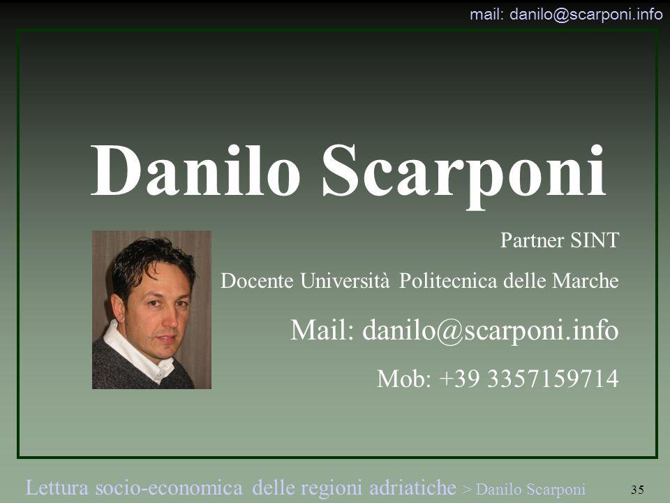 Danilo Scarponi Mail: danilo@scarponi.info Mob: +39 3357159714