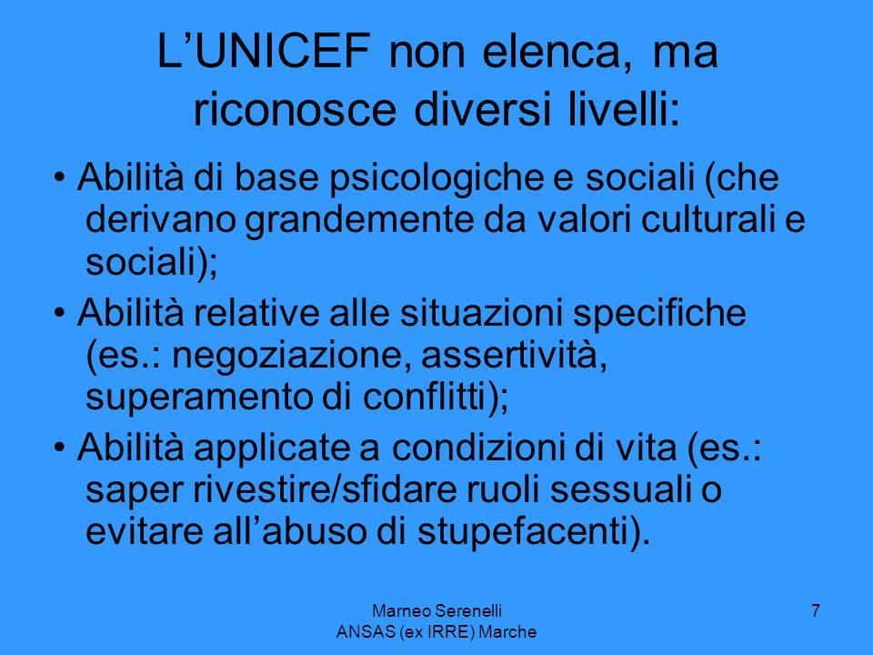 L'UNICEF non elenca, ma riconosce diversi livelli: