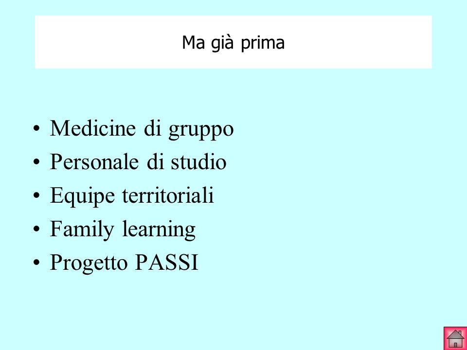 Medicine di gruppo Personale di studio Equipe territoriali