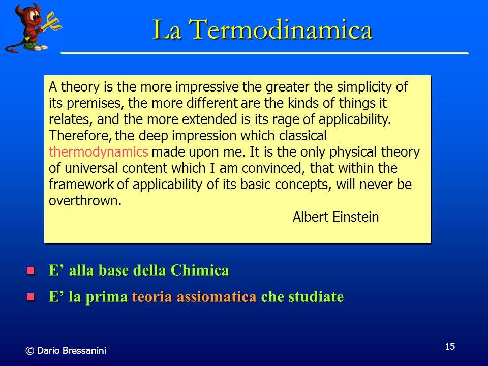La Termodinamica E' alla base della Chimica
