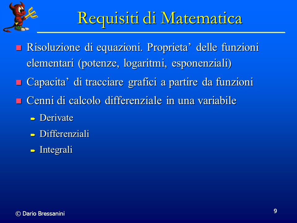 Requisiti di Matematica