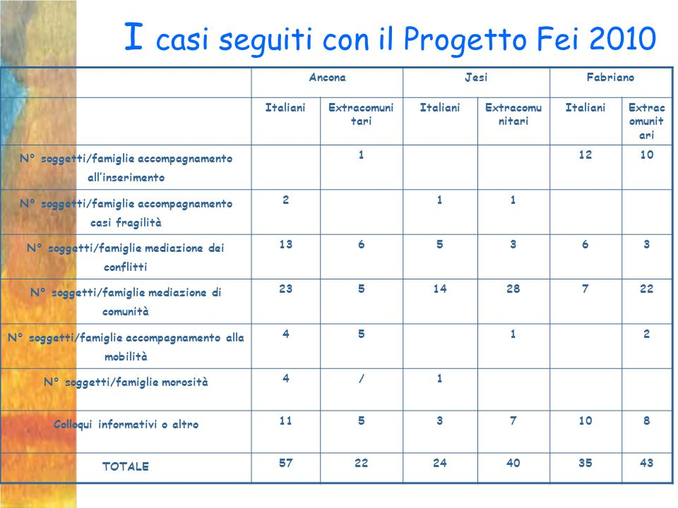 I casi seguiti con il Progetto Fei 2010