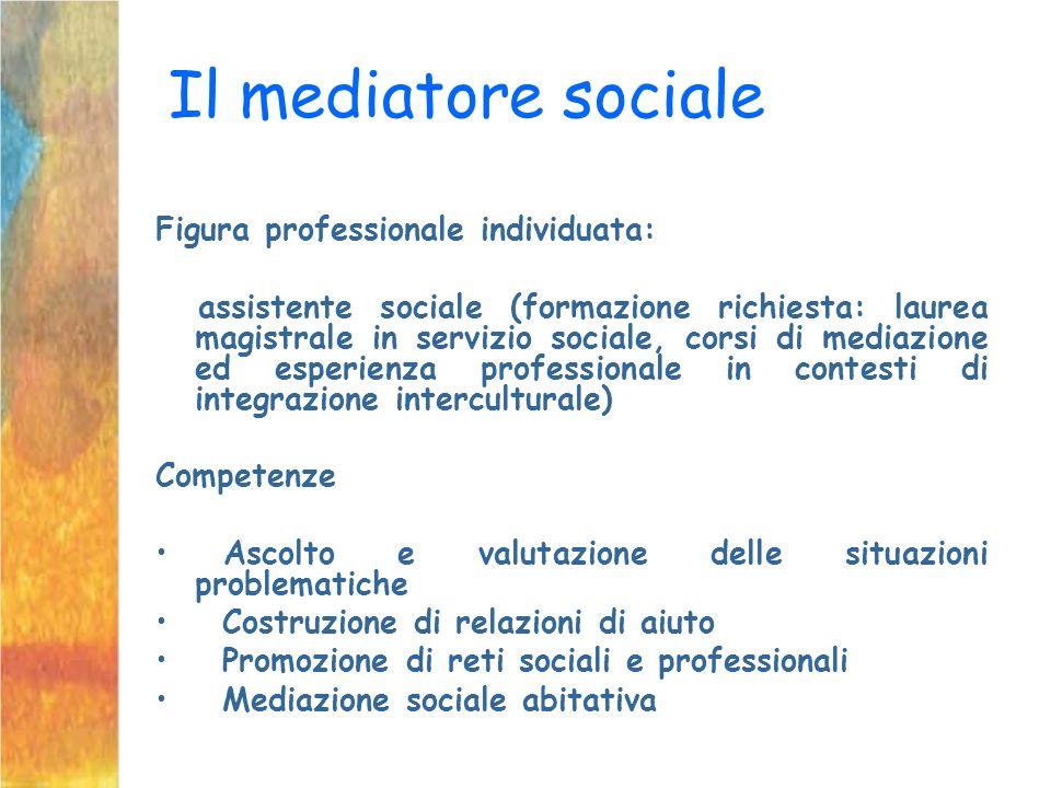 Il mediatore sociale Figura professionale individuata: