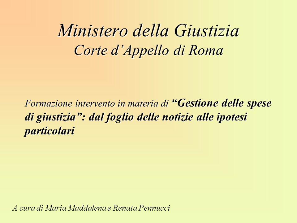 Ministero della Giustizia Corte d'Appello di Roma