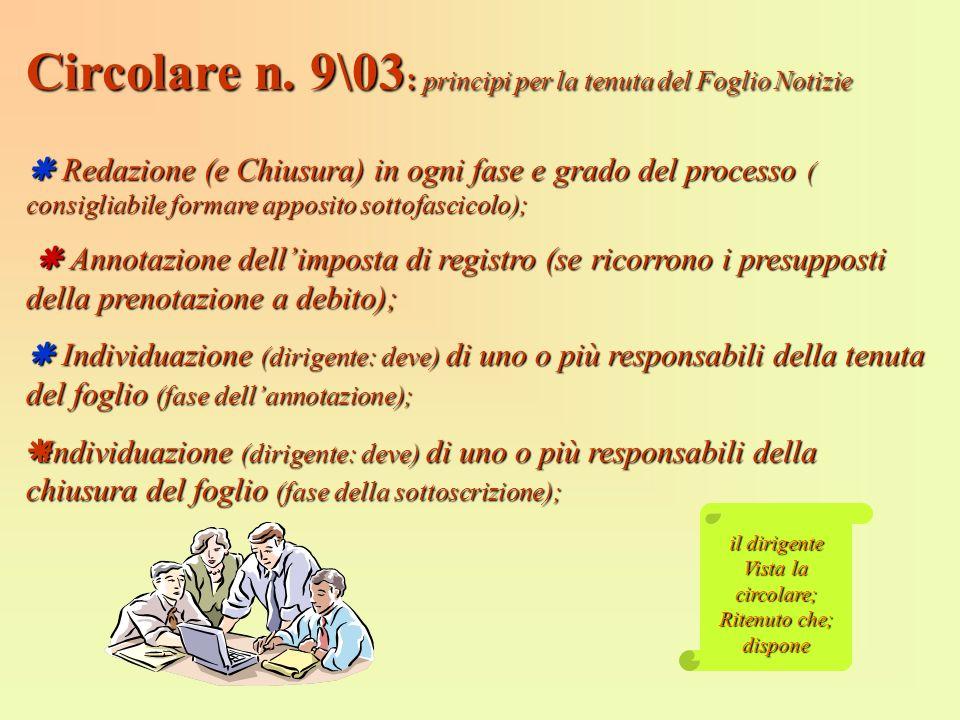 Circolare n. 9\03: principi per la tenuta del Foglio Notizie