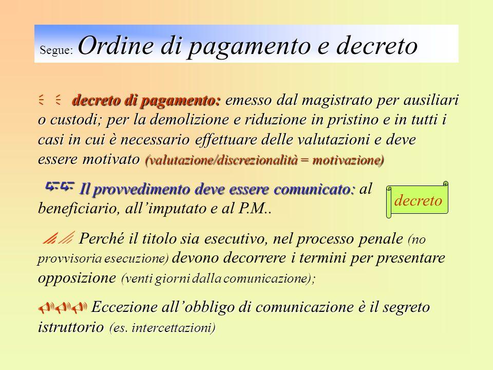 Segue: Ordine di pagamento e decreto