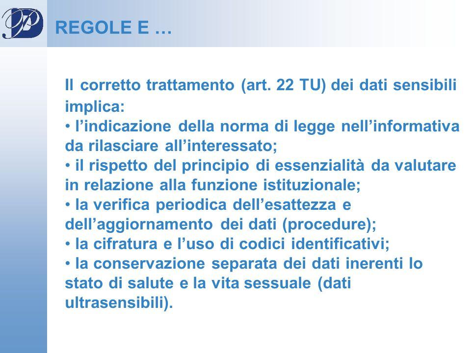 REGOLE E … Il corretto trattamento (art. 22 TU) dei dati sensibili implica: